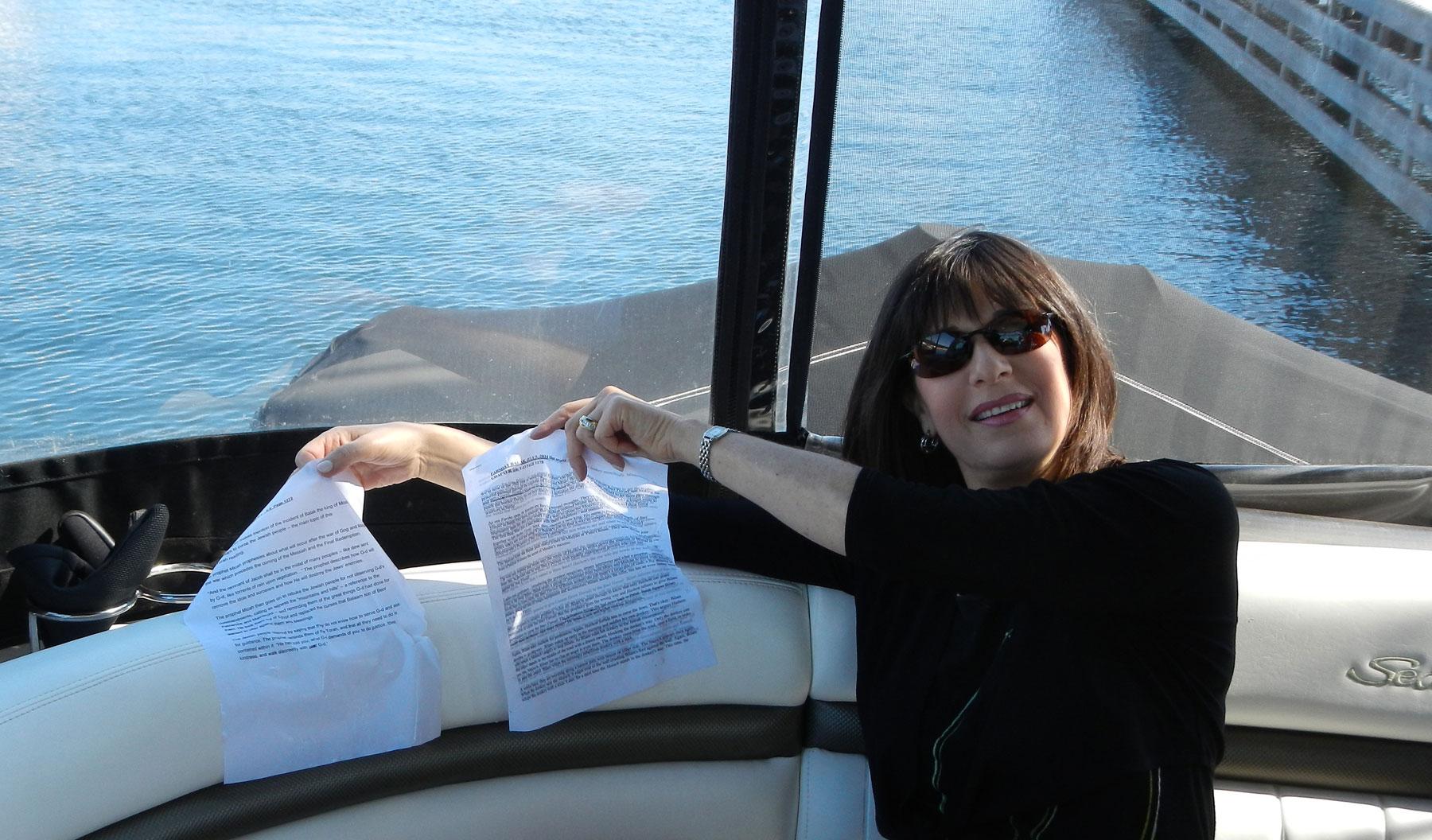 Audrey Kaufman with her soggy d'var torah